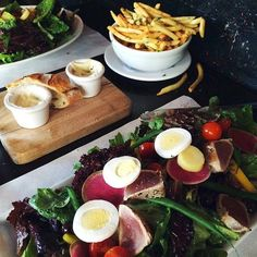 Lunch! Niçoise salad, chicken salad, and french fries. Everything good in the world.