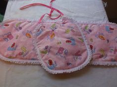 Baby Infant Bib Burp Cloth Set Handcrafted Pink Background ABC Sesame Street  #RibbonTieandBurpCloth