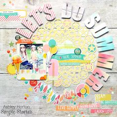#papercraft #scrapbooking #layout -  Let's Do Summer layout for Simple Stories by Ashley Horton