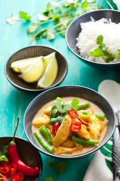 Chicken curry with rice.