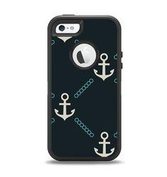 The Blue & Teal Vintage Solid Color Anchor Linked Apple iPhone 5-5s Otterbox Defender Case Skin Set