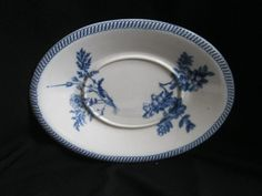 Wedgwood White Blue Floral Gravy Boat Underplate Only England Incised Wedgwood #WEDGWOOD