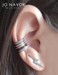 19adb3f32 14K Gold & Diamond Lightning Bolt Climber Earrings and Diamond Pave Ear  Cuffs - Designer Fine