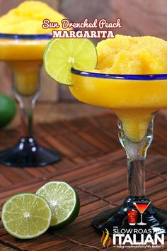 Perfectly Peach Frozen Margarita Peach Margarita  1 cup peach chunks (fresh, frozen, or canned) 3 ounces tequila 3 ounces peach schnapps 1 ounce triple sec 1 ounce sugar 1 ounce sweetened lime juice 3 cups ice (adjust to personal preference) lime slices (garnish)