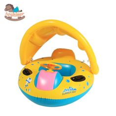 Arshiner New Babies Sunshade pool fish float Inflatable Boat Water Development Toys Toddler Baby PVC Boat Yellow