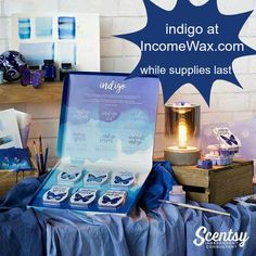 Scentsy limited edition Indigo collection scented candles now available at https://la.scentsy.us/Buy/Category/3376