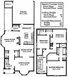 CYC2169 all floors - I really like this traditional layout. I like the bay window in the living room. This plan includes an unfinished 3rd floor where I'd add 2 bedrooms (same layout as the 2 bedrooms + bath on the 2nd floor) and a rec room in the remaining space.