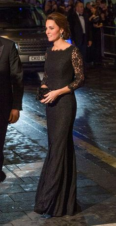 Kate Middleton's formal event approach is usually to find a sleek and elegant dress that's not too fussy. Case in point: this black lace Diane von Furstenberg dress with quarter-length sleeves