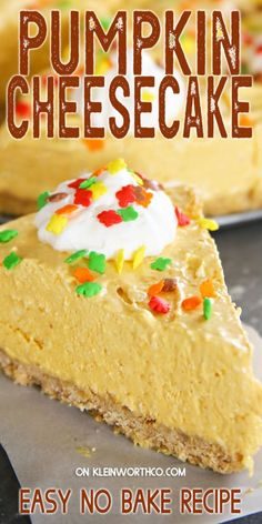Easy No-Bake Pumpkin Cheesecake is the perfect dessert for your fall gatherings