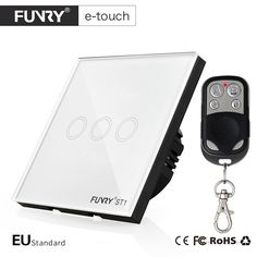 FUNRY EU Standard 3 Gang Remote Switch, Smart Control On-off for Smart Home, Smart Wall Switch,Smart Lamp Switch,Light Switch