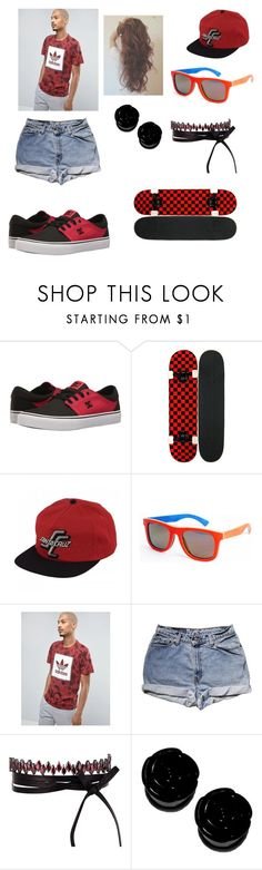 """Red rider"" by where-da-wild-things-are ❤ liked on Polyvore featuring DC Shoes, Santa Cruz Skateboards, adidas Originals, Levi's and Fallon"