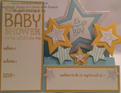 Eimear Carvill www.stampincolour.com Stampin' Up Sweet Lil' Ones baby Shower Invitation on a Stair stepper card and using the Star framelits