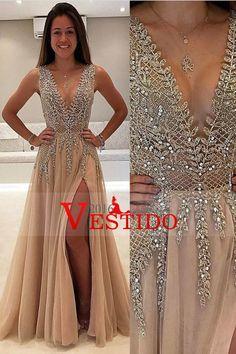 2017 Tulle Prom Dresses A Línea V cuello con cuentas y Slit Open Back US$ 289.99 VEP18P6LNK - 2016Vestido.com
