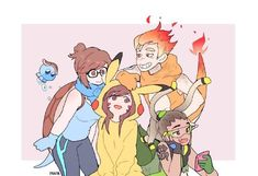 Overwatch x Pokemon<<<I love this so much XD Overwatch Comic, Overwatch Memes, Overwatch Fan Art, Overwatch Pokemon, Junkrat Fanart, Widowmaker, Cartoon Games, Soldier 76, Cute Art