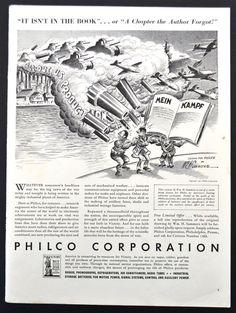 1942 Philco Corporation Vintage Print Ad - WWII Illustration - Destruction of Hitler Mein Kampf