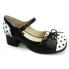 Sapato Retrô em Couro com salto médio de altura 4,5 cm. Feito à mão. Solado em…