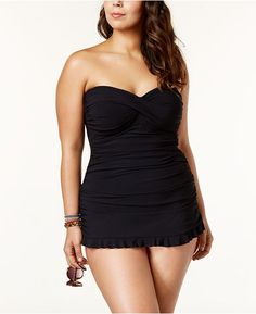 3bc54c47dfa0f Profile by Gottex Plus Size Tummy-Control Ruched Ruffled Swimdress Plus  Sizes - Swimwear - Macy s