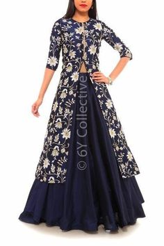 Navy Blue Floral Embroidery Achkan Style Lehenga ,Veeshack.com | Fashion for the World - 1