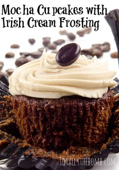 Cause a stir when you bring these Mocha Cupcakes with Irish Cream Frosting to your next party! This recipe takes minutes to create but tastes so delicious.