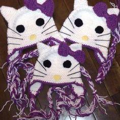 Crochet custom purple Hello Kitty Hats by Kaylee Kakes Crochet