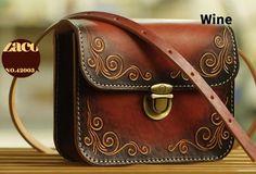 Handmade leather shoulder bag crossbody bag purse vintage carved green   EverHandmade