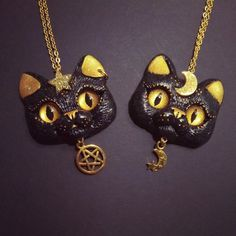 Mysterious black cat necklace by FleurDeLapin // I want this really bad omfg