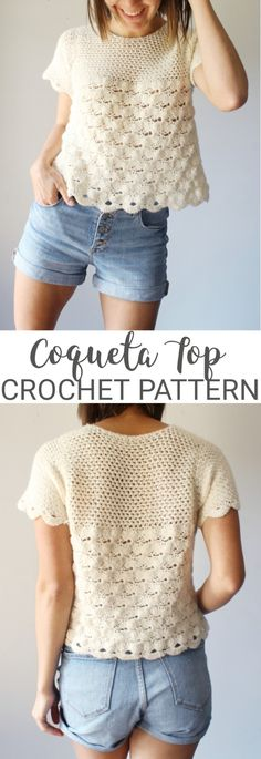 This lightweight, flirty top is perfect for date night, work, or casual wear! Crochet Woman, Love Crochet, Crochet Yarn, Crochet Hooks, Knit Crochet, Chrochet, Crochet T Shirts, Crochet Blouse, Crochet Clothes