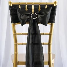 5pc x Satin Black Chair Sash | eFavorMart /  Satin has an unsurpassed sophistication and charismatic appeal about itself, it is undoubtedly, most preferred embellishing fabric that is adored by people all over the world and is tirelessly utilized in designing elegant formal attires, accessories, decorative flowers, ornaments and a lot more. The lustrous glossy texture of the fabric together with the seamless sheen and sublime elegance it exudes make it everyone's favorite all around the…