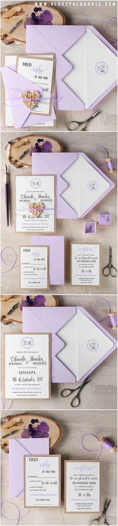 Rustic Watercolor Wedding Invitations - Birch Bark Tag & Calligraphy printing #ecofriendly #lavender #lilac #romantic #rustic #weddingideas