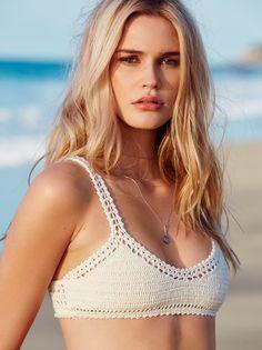 70's Halter Top Bikini | Artisan handmade crochet triangle shaped bikini bralette, with adjustable halter and back ties. Lined.