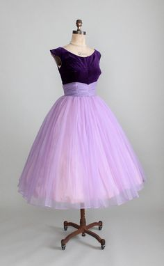 Vintage 1950s Purple Velvet and Chiffon Prom Dress.