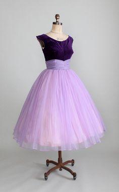 Vintage 1950s Purple Velvet and Chiffon Prom Dress.
