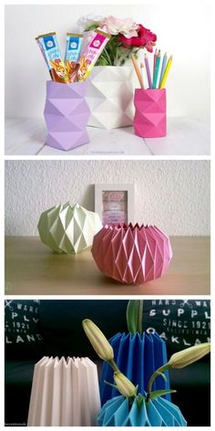 DIY Origami Vases. Make origami vases 3 different ways. The site, Love Decorations, is in German, but you can translate it with whatever app or program you have. You can also use these origami sculptu