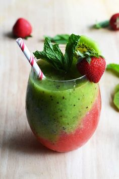 Strawberry-Kiwi Frozen Mojito. Fresh fruit, mint, rum, simple syrup, and ice makes this the PERFECT summer drink. It tastes even better than it looks! | http://hostthetoast.com