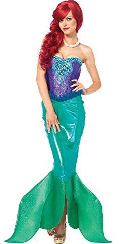 Adult Womens Iridescent Mermaid Fish Halloween Costume Blue Jumpsuit Ariel DIY