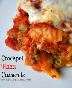 "Another pinner says, ""Crockpot Pizza Casserole is amazing and so easy to prepare!  My family loves pasta and pizza so this is the perfect recipe for them!"" on the menu this week :)"