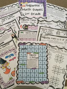 Halloween board games and NO PREP game sheets for second grade from   Halloween Math Games Second Grade by Games 4 Learning $