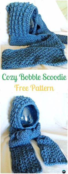 CrochetCozy Bobble Scoodie Free Pattern - Crochet Hoodie Scarf Free Patterns