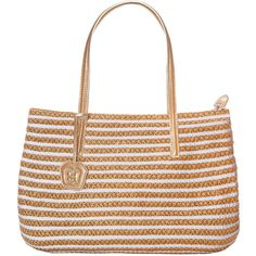 Eric Javits Dame Brooke Squishee Tote Bag ($330) ❤ liked on Polyvore featuring bags, handbags, tote bags, purses, white mix, zip top tote bag, white purse, striped tote bag, straw handbags and woven tote