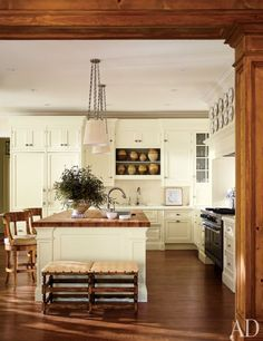 The kitchen of a 1930s gardener's cottage in Lake Forest, Illinois, renovated by designer Timothy Corrigan.
