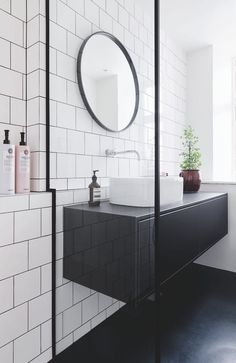 Scandinavian bathroom white tiles and black floor Scandinavian . Scandinavian bathroom white tiles and black floor Scandinavian bathroom white tile White Bathroom Tiles, White Tiles, Bathroom Flooring, White Bathrooms, Bathroom Small, Seafoam Bathroom, Bathroom Vinyl, Modern Bathrooms, Bathroom Mirrors