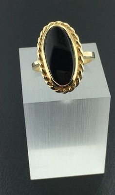 Lady's 14k yellow gold genuine Onyx oval shaped ring in Jewelry & Watches, Fine Jewelry, Fine Rings | eBay