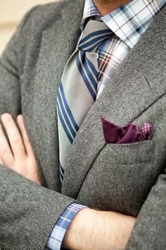 Tweed Jacket Striped Tie