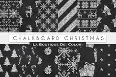 Chalkboard Christmas Digital Papers. Christmas Patterns. $3.00