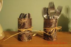 utensil holder for duck dynasty themed bday party. wrapped cans in camo duct tape and tied with raffia. Camo Birthday Party, Camo Party, Hunting Birthday, Boy Birthday, Birthday Parties, Birthday Cookout, Camouflage Party, Redneck Party, Cowboy Party