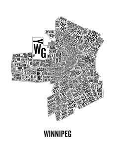 Winnipeg Neighborhoods Map by CNDPrints on Etsy Typographic Poster, Typography, Broadway, City Map Poster, City Logo, Map Art, Office Boards, The Neighbourhood, Great Gifts