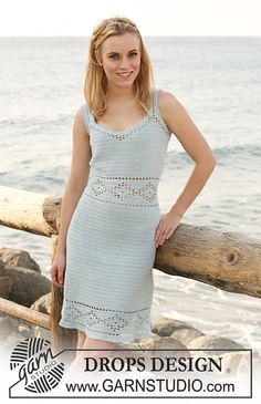 "Ravelry: 120-30 Crochet dress in ""Safran"" with lace pattern and buttons at the back pattern by DROPS design"