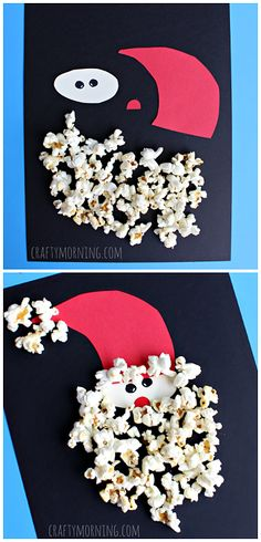 Popcorn Santa Claus Craft for kids! Not only is popcorn the perfect snack but the perfect craft material :) The kids will love making Popcorn Santa this holiday season! The perfect craft to do together as a family! Kids Crafts, Christmas Crafts For Kids To Make, Daycare Crafts, Christmas Activities, Christmas Projects, Preschool Crafts, Holiday Crafts, Christmas Crafts For Kindergarteners, Childrens Christmas Crafts