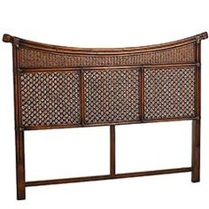 Named for an ancient kingdom in Indonesia, the Senopati Headboard lives up to its name, with a regal arch and intricately woven detail crafted from bamboo, rattan, and mahogany. A Pier 1 Exclusive.  $179.99, This entire set is soooo mine.