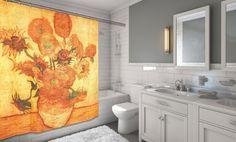 "beautiful Classic SUNFLOWERS Vincent Van Gogh Fabric Shower Curtain 72"" X 70"""